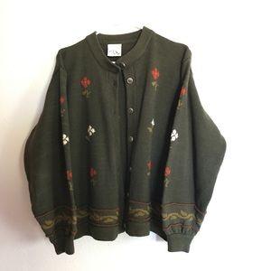 Dark green grandma knit cardigan XL